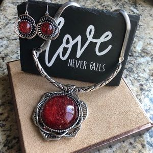 Jewelry - Silver & Red Statement Necklace & Earring Set